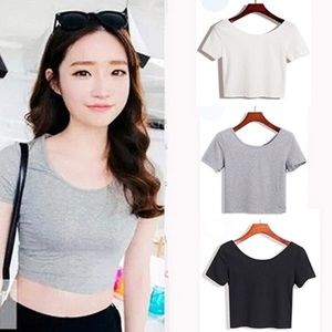 Cotton crop top Gray and White Duo Bundle